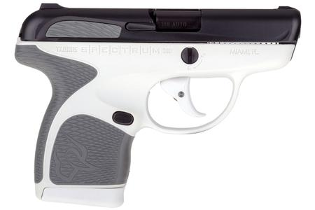 TAURUS SPECTRUM .380 AUTO WHITE/BLACK PISTOL WITH GRAY GRIPS