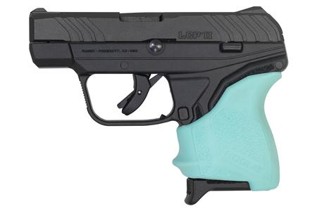 RUGER LCP II 380 ACP WITH TURQUOISE HOGUE GRIP SLEEVE