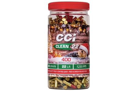 CCI AMMUNITION 22LR 40 gr LRN  Clean-22 400 Round Christmas Pack with Red and Green Bullets