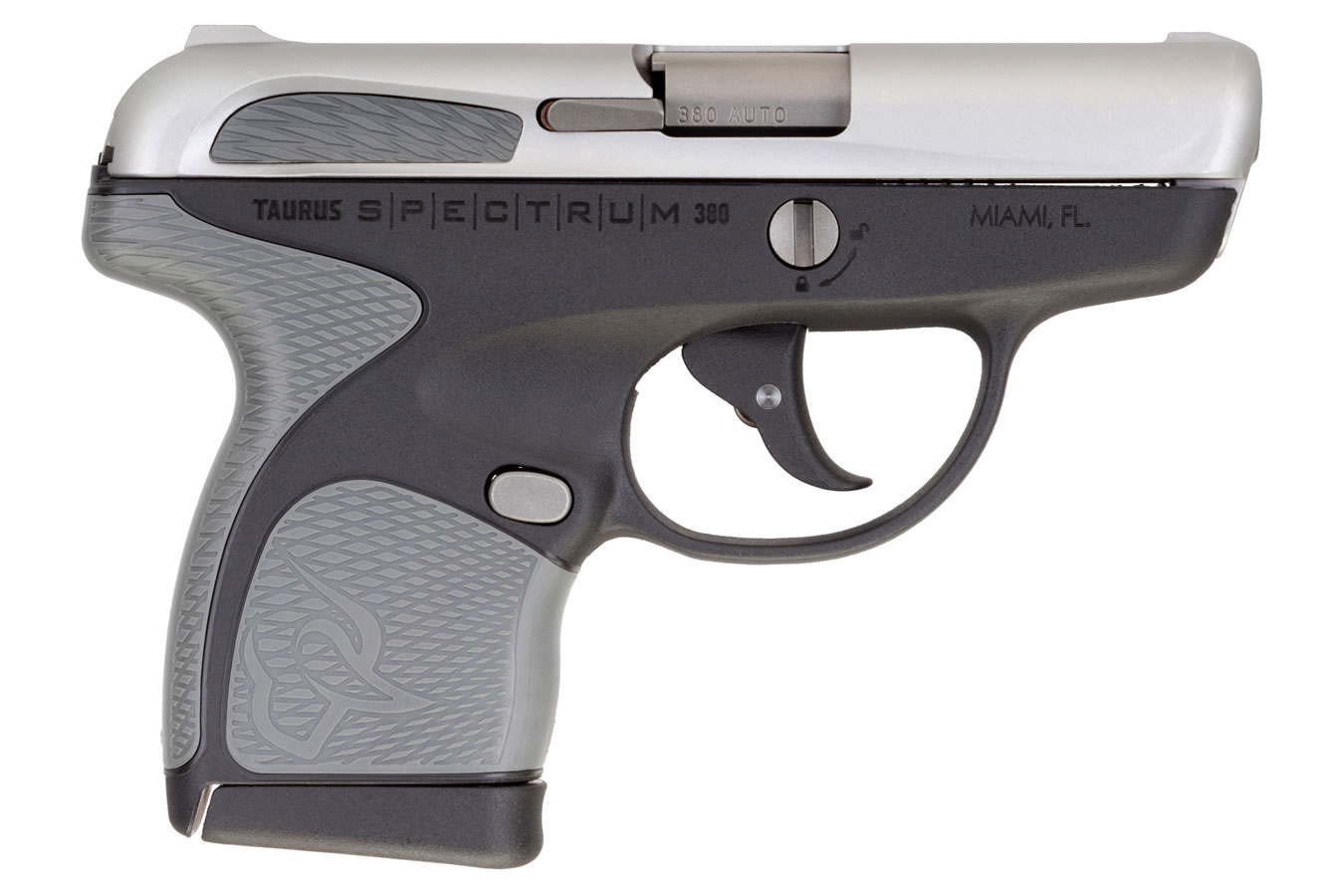 No. 7 Best Selling: TAURUS SPECTRUM .380 AUTO BLACK/STAINLESS WITH GRAY GRIPS
