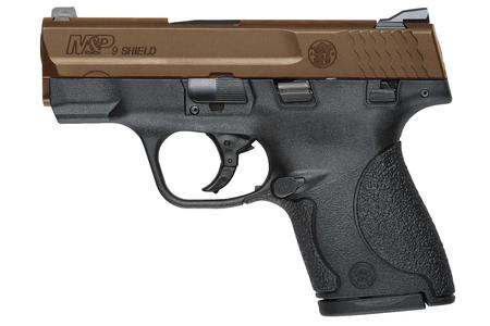 SMITH AND WESSON MP9 SHIELD 9MM CENTERFIRE PISTOL WITH BRONZE CERAKOTE SLIDE AND THUMB SAFETY