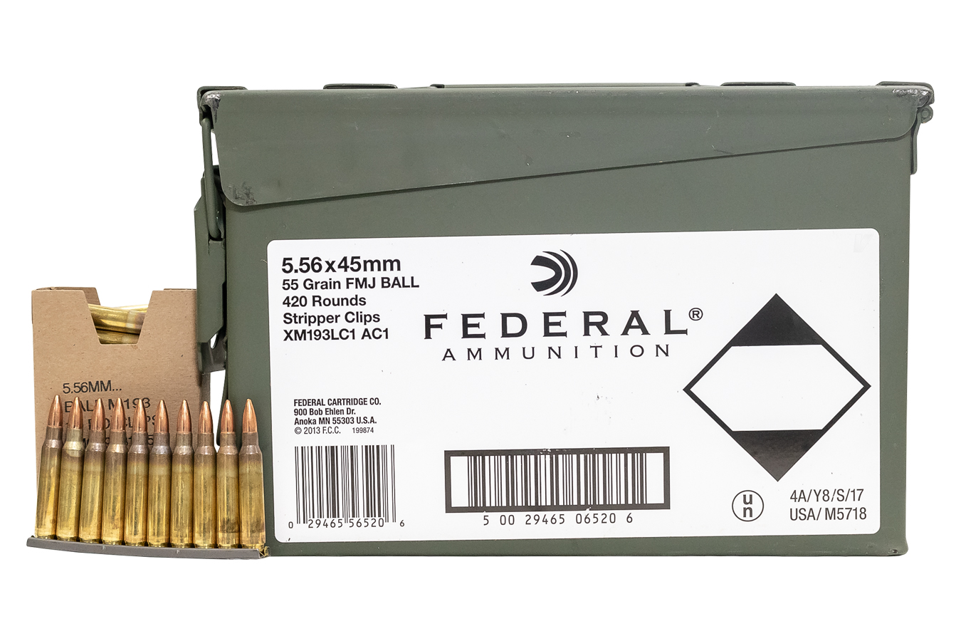 5.56MM NATO 55 GR FMJ CLIPPED M19A AMMO CAN