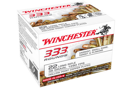 WINCHESTER AMMO 22LR 36 gr Copper Plated Hollow Point 333 Round Brick