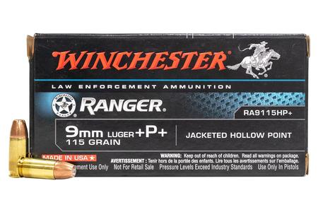WINCHESTER AMMO 9MM LUGER +P+ 115GR. JHP RANGER (LE)