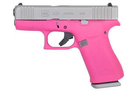 GLOCK 43X 9mm 10-Round Pistol with Prison Pink Frame and Silver PVD Slide