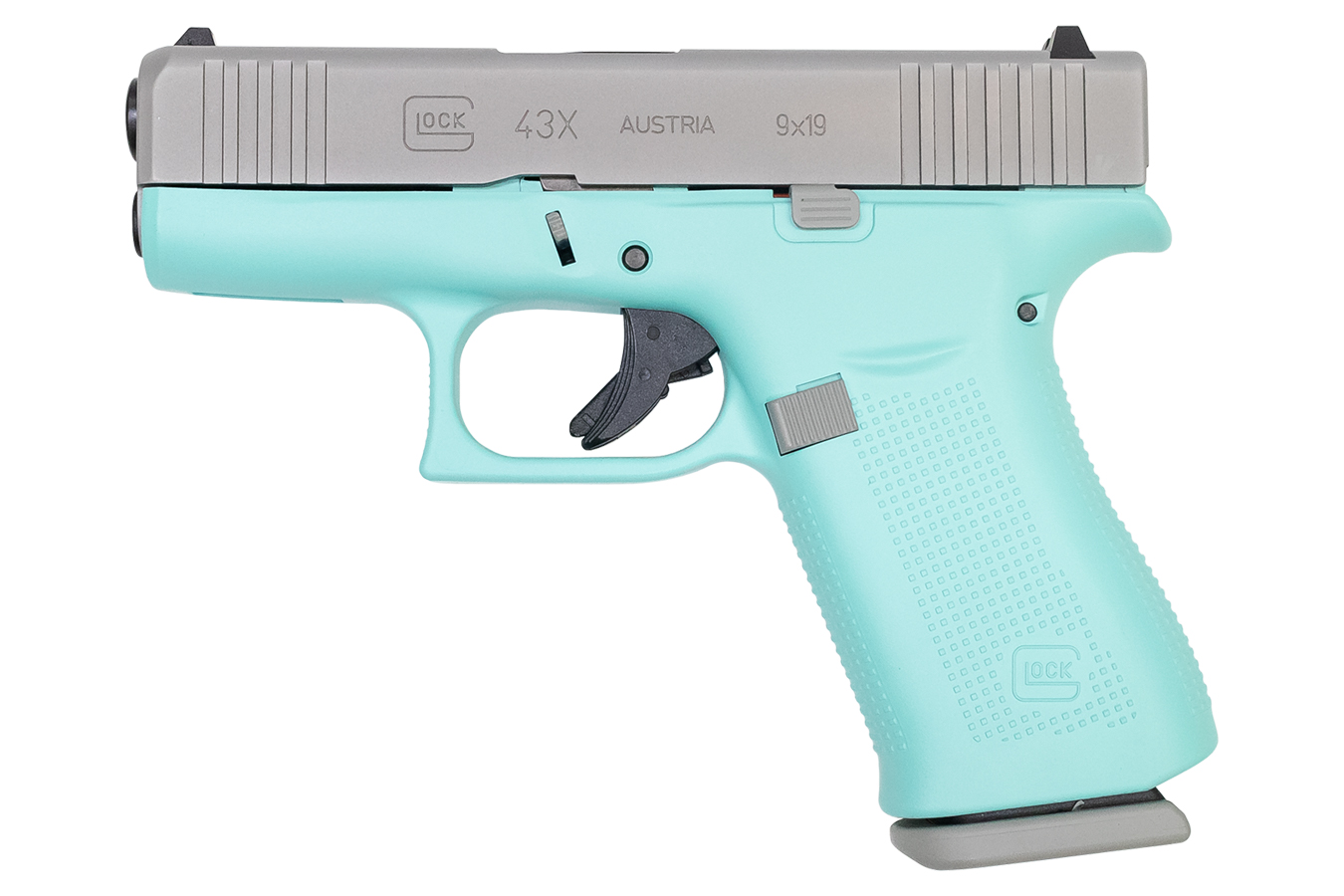 GLOCK 43X 9MM 10-ROUND PISTOL WITH ROBIN EGG BLUE