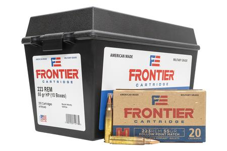HORNADY 223 Rem 55 gr Hollow Point Match Frontier 200 Rounds in Ammo Can