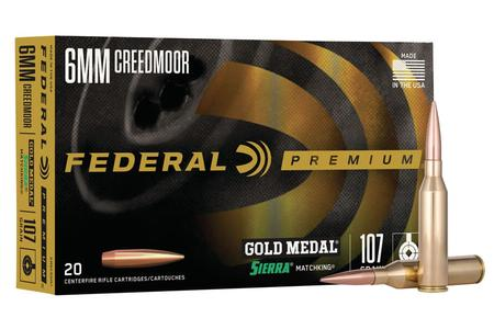 FEDERAL AMMUNITION 6mm Creedmoor 107 gr Gold Medal Sierra MatchKing 20/Box