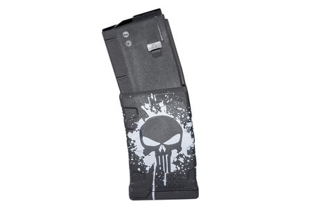 MISSION FIRST TACTICAL 223/5.56mm 30-Round AR-15 Magazine with Punisher Skull Splatter White Finish