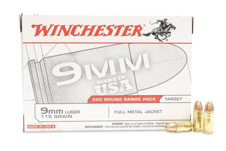 Winchester 9mm 115 gr Full Metal Jacket USA White Box 200 Round Value Pack