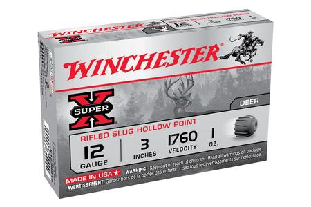 WINCHESTER AMMO 12GA 3 Inch 1 oz Rifled Slug Hollow Point Super X 5/Box