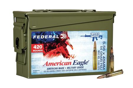FEDERAL AMMUNITION XM193 5.56mm 55 gr FMJ 420 Rounds Loose in Metal Ammo Can
