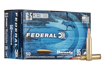 Federal 6.5 Creedmoor 95 Grain Hornady V-Max Varmint and Predator 50 Round Bulk Pack