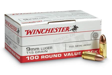 WINCHESTER AMMO 9MM 115 GR FMJ