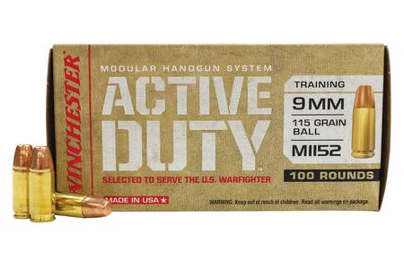Winchester 9mm 115 gr FMJ-FN Ball MHS Active Duty 100/Box