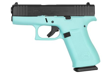GLOCK 43X 9MM BLK SLIDE/ROBIN EGG BLUE FRAME