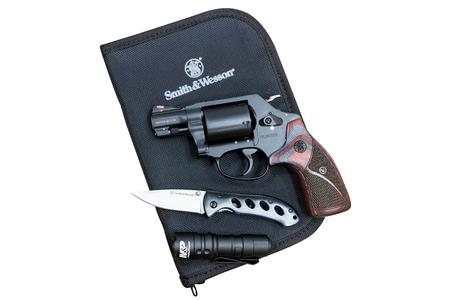 SMITH AND WESSON M360 357 MAG/38 SW SPL REVOLVER EDC KIT WITH CHARCOAL/RUBY GRIPS