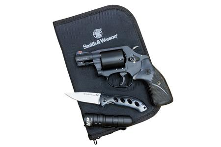 SMITH AND WESSON M360 357 MAG/38 SW SPL REVOLVER EDC KIT WITH SILVER/BLACK GRIPS