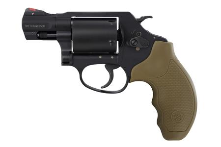 SMITH AND WESSON 360J 357 MAGNUM REVOLVER WITH FADED DARK EARTH GRIPS