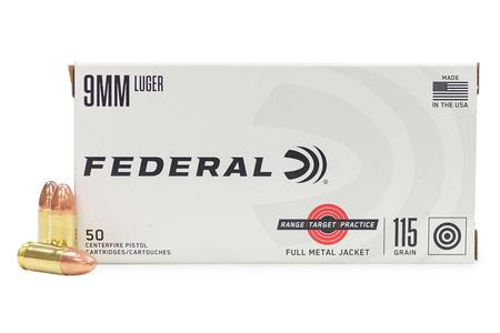 Federal 9mm 115 gr FMJ Range Target Practice 50/Box
