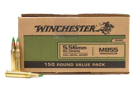 Winchester 5.56mm NATO 62 gr FMJ Green Tip M855 Penetrator 150 Round Value Pack