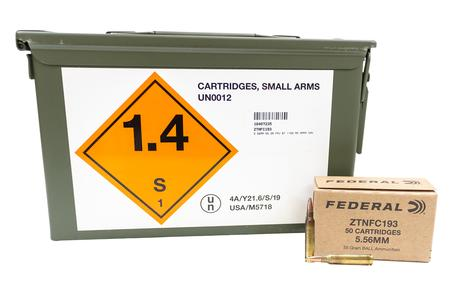 Federal 5.56mm 55 gr FMJ Boat Tail 1100 Rounds in Ammo Can
