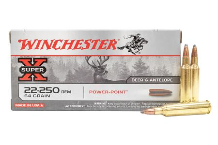 WINCHESTER AMMO 22-250 Rem 64 gr Power-Point Super-X 20/Box