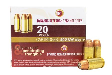 Dynamic Research Technologies 40 SW 105 gr Jacketed Hollow Point Frangible 20/Box