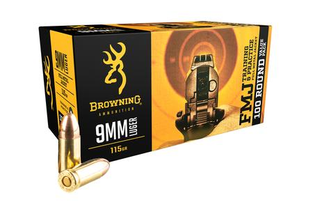 Browning 9mm 115gr FMJ Training and Practice 100 Round Value Pack