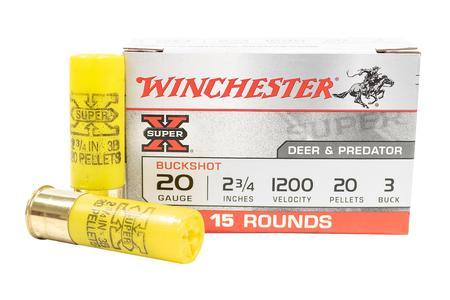 Winchester 20 Gauge 2-3/4 Inch #3 Buckshot Super-X 15/Box