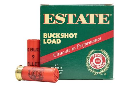 Estate Cartridge 12 Gauge 2-3/4 in 9 Pellet 00 Buckshot 25/Box