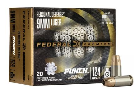 Federal 9mm 124 gr Jacketed Hollow Point Punch 20/Box