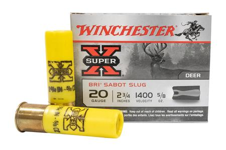 WINCHESTER AMMO 20 Gauge 2-3/4 Inch 5/8 oz 2-Piece Sabot Super-X Slug 5/Box