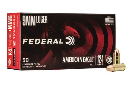 Federal 9mm Luger 124 gr FMJ American Eagle 50/Box