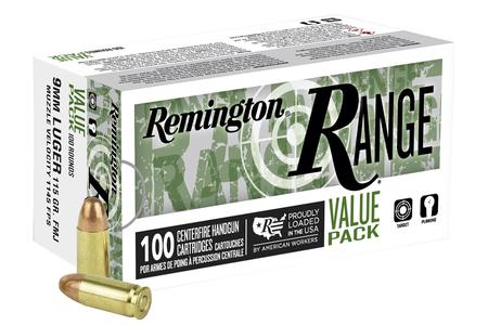 Remington 9mm 115 gr FMJ Range Value Pack 100/Box
