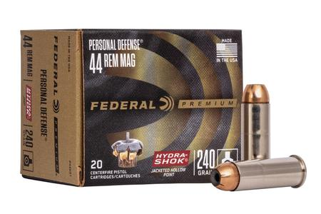 Federal 44 Remington Magnum 240 gr Hydra-Shok JHP Personal Defense 20/Box