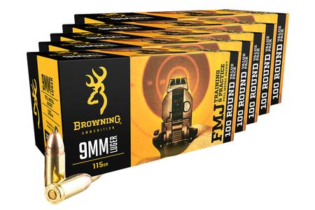 Browning 9mm 115 gr FMJ Training and Practice 100 Round Value Pack (5 Pack - 500 Rounds)