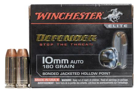 Winchester 10mm Auto 180 gr Bonded JHP Defender Elite 20/Box