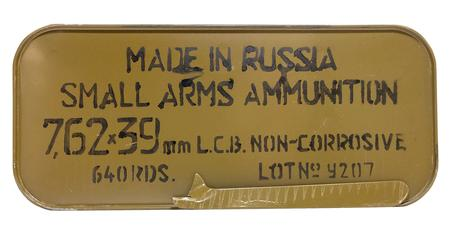 TULA AMMO 7.62x39mm 122 gr FMJ Steel Case 640 Rounds in Tin Can