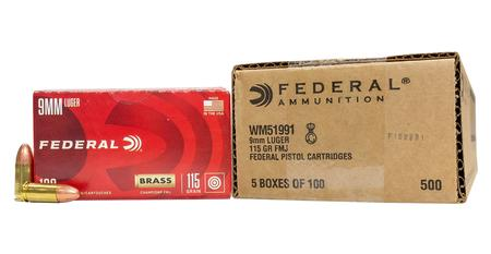 FEDERAL AMMUNITION 9mm 115 gr FMJ Champion Training 500/Case