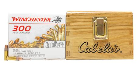 Winchester 22LR 36 gr Copper Plated Hollow Point 300 Rounds in Special Edition Cabelas Box