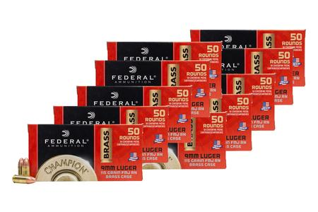 Federal 9mm 115 gr FMJ Champion Training 500 Round Bulk Pack