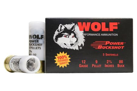 Wolf Ammo 12 Gauge 2-3/4 in 9 Pellet 00 Power Buckshot 5/Box