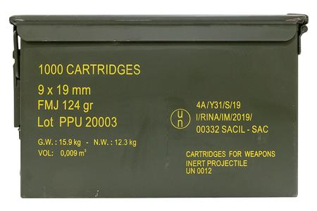 Ppu 9mm Luger 124 gr FMJ 1000 Rounds in Ammo Can