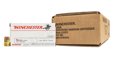 Winchester 9mm Luger 147 gr FMJ FN White Box 500 Round Case