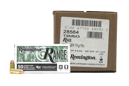 Remington 9mm 115 gr FMJ Range Ammo 500 Round Case