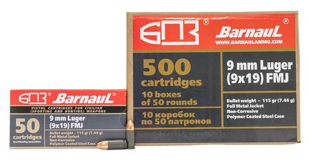 BARNAUL 9mm Luger 115 Gr FMJ Steel Polycoated Case 500/Case