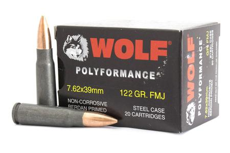 WOLF AMMO 7.62x39mm 122 gr FMJ Steel Case PolyFormance 20/Box