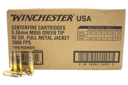 Winchester 5.56 mm 62 gr FMJ M855 Green Tip Lake City 1000/Case