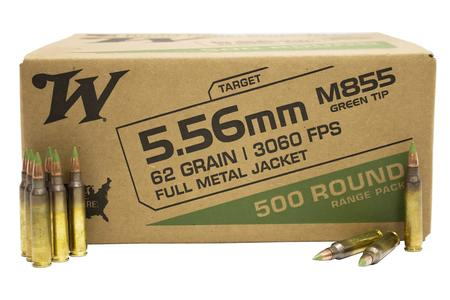 Winchester 5.56 mm M855 62 gr FMJ Green Tip Lake City 500 Round Range Pack